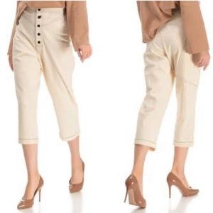 Zara Cropped Exposed Button Fly Ivory Trouser Pant